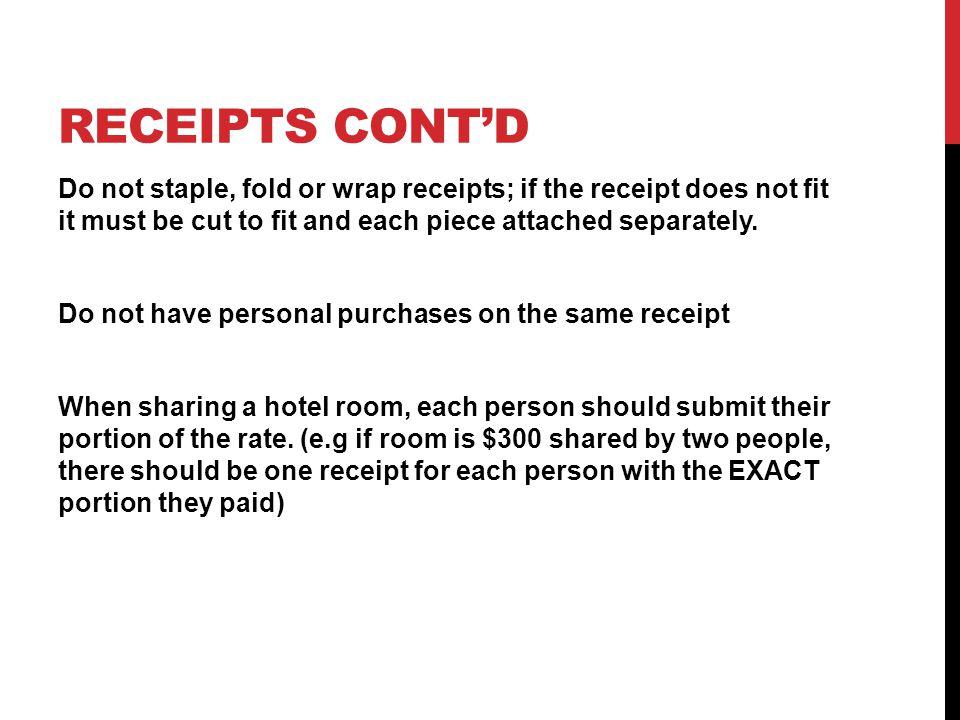 Receipts Cont'd