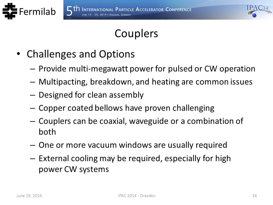 Couplers Challenges and Options