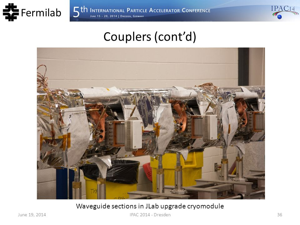 Waveguide sections in JLab upgrade cryomodule