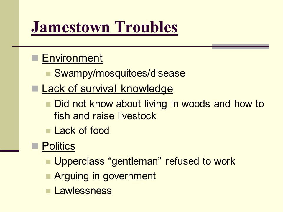 Jamestown Troubles Environment Lack of survival knowledge Politics