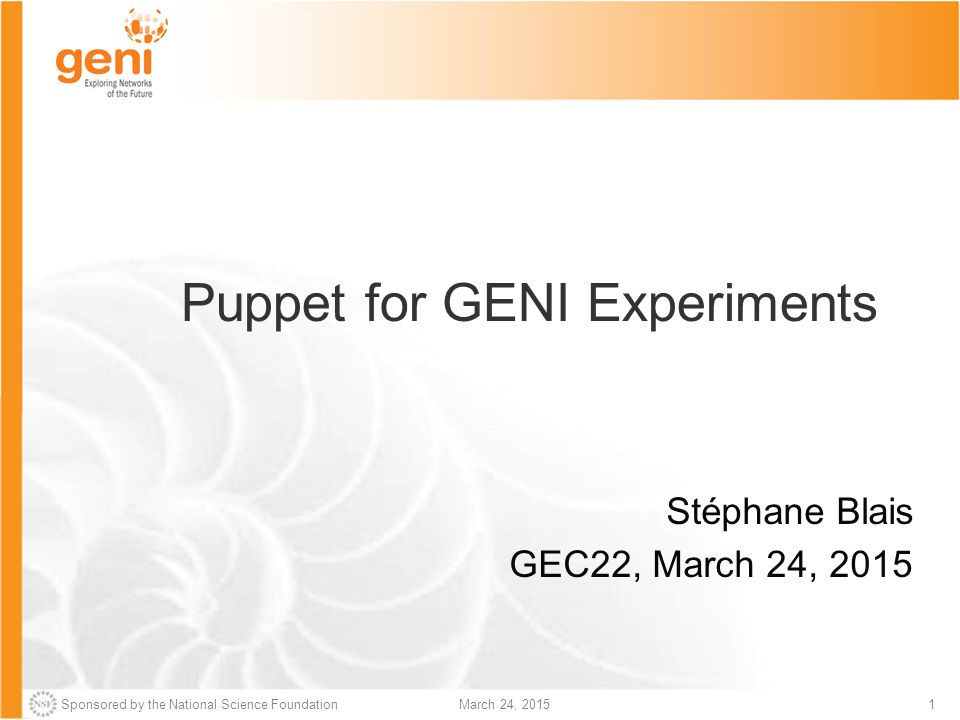 Puppet for GENI Experiments