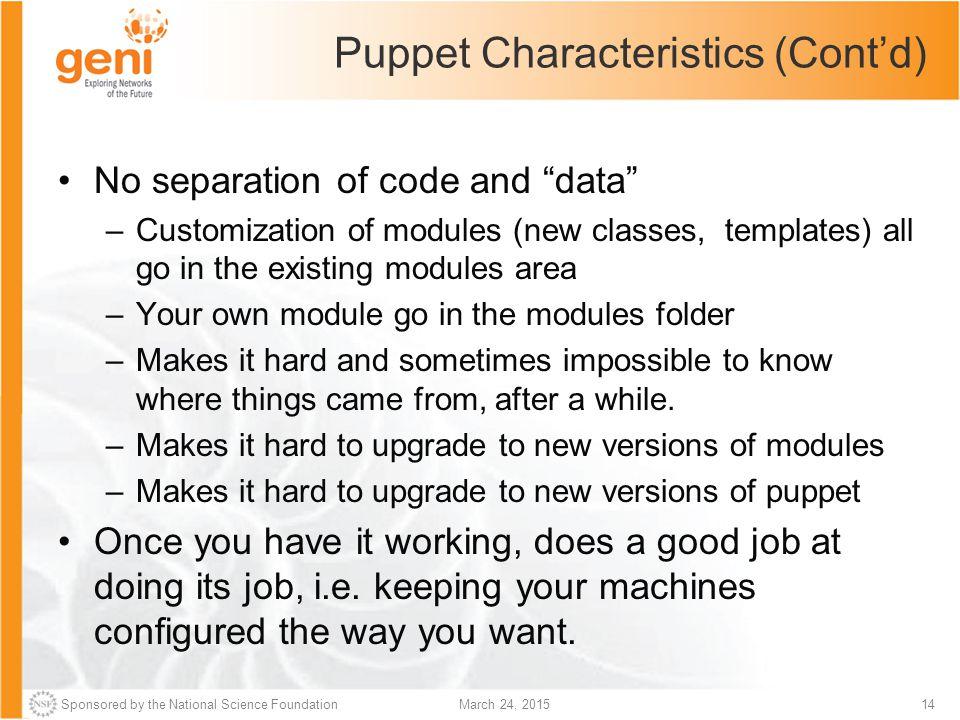 Puppet Characteristics (Cont'd)