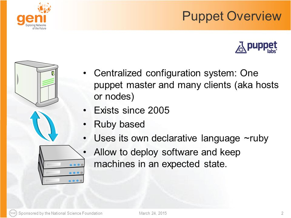 Puppet Overview Centralized configuration system: One puppet master and many clients (aka hosts or nodes)