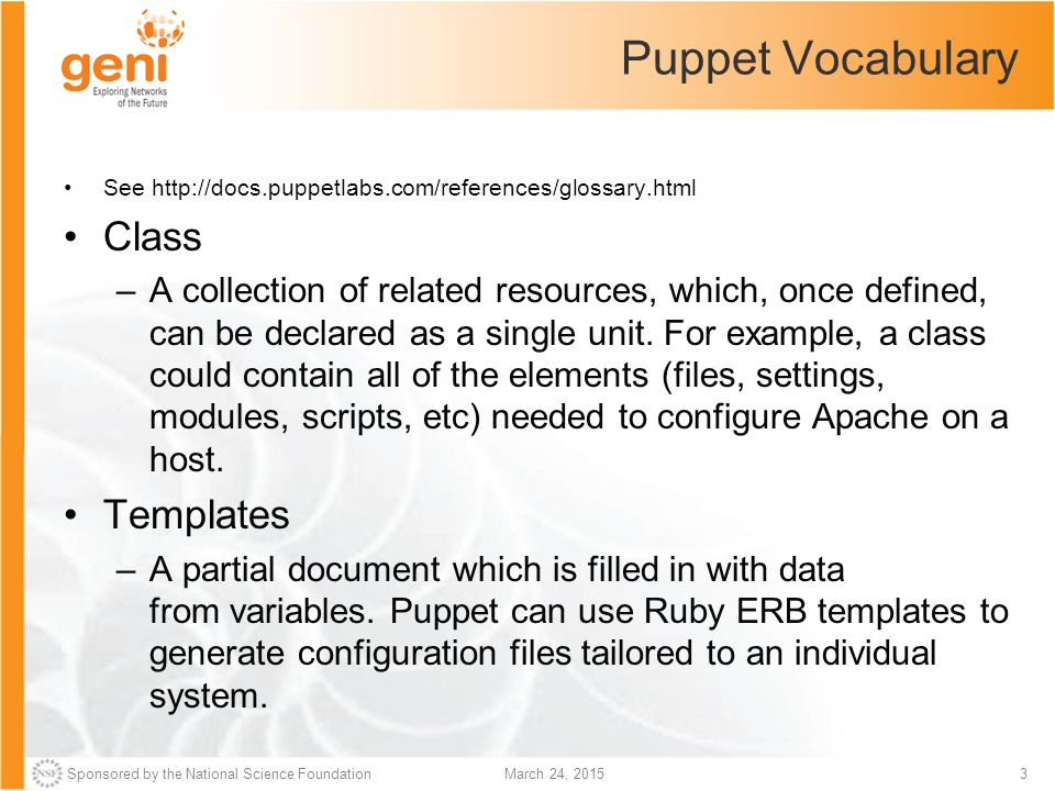 Puppet Vocabulary Class Templates