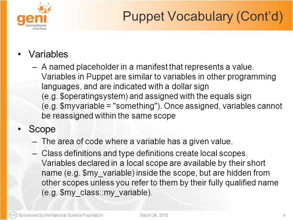 Puppet Vocabulary (Cont'd)