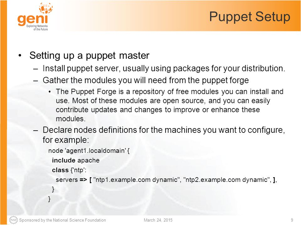 Puppet Setup Setting up a puppet master