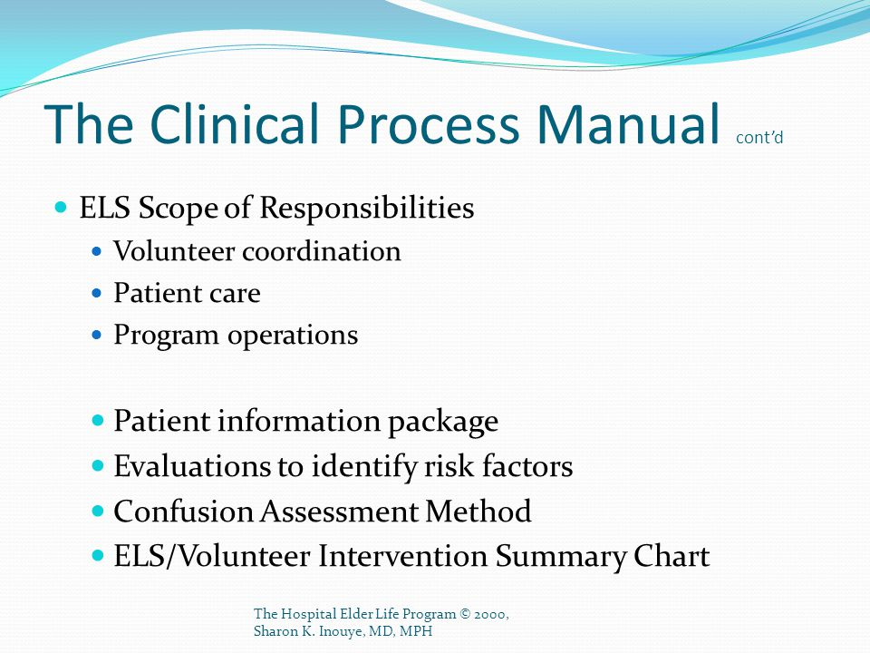 The Clinical Process Manual cont'd