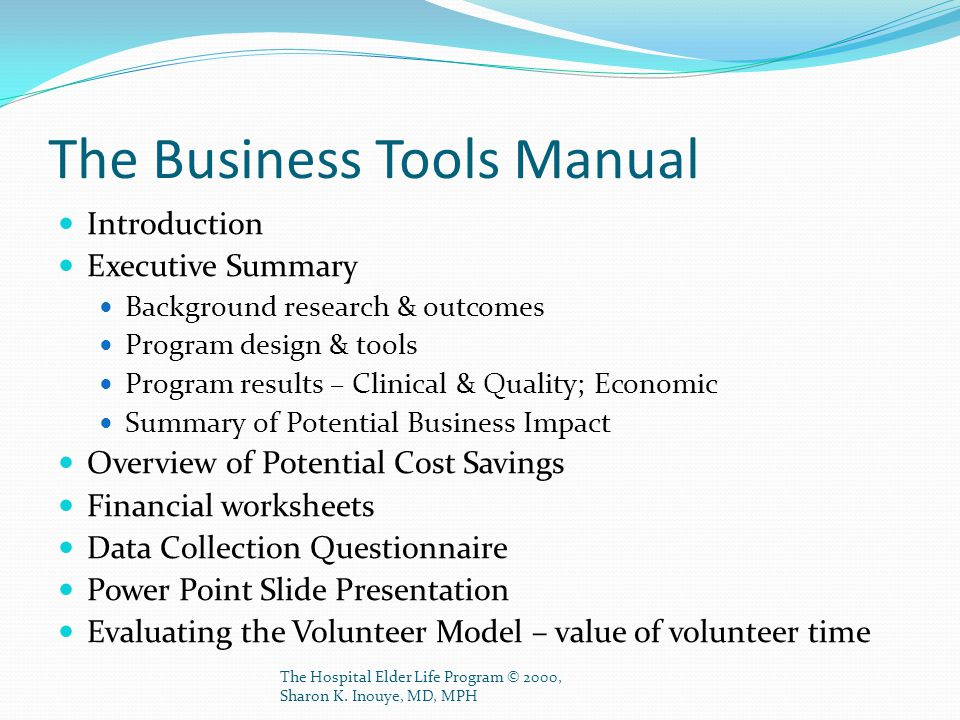 The Business Tools Manual