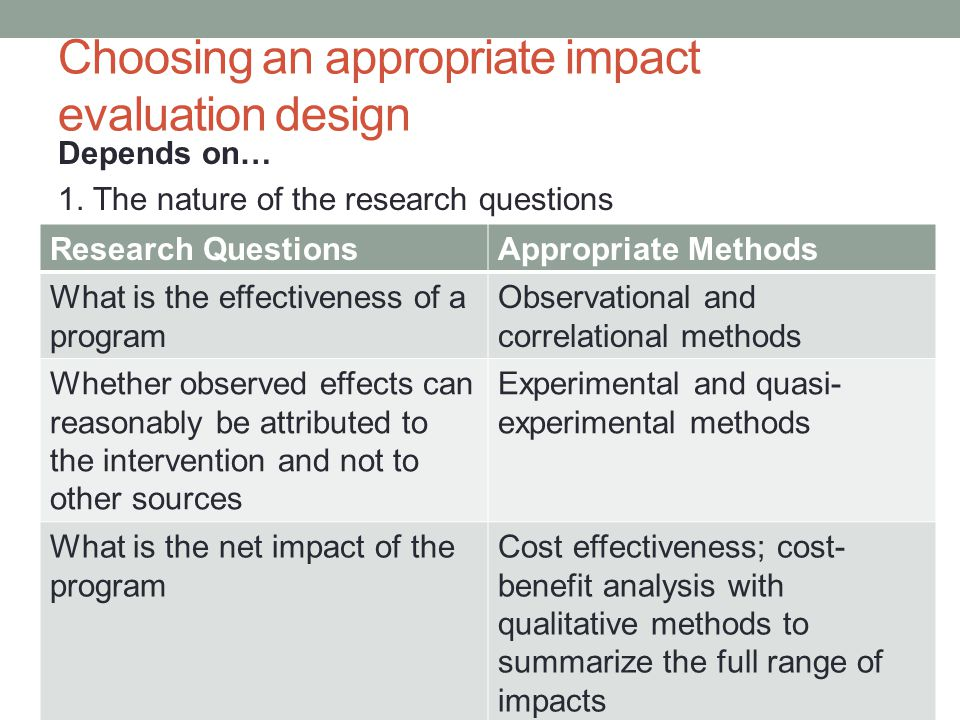 Choosing an appropriate impact evaluation design
