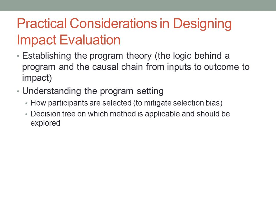 Practical Considerations in Designing Impact Evaluation