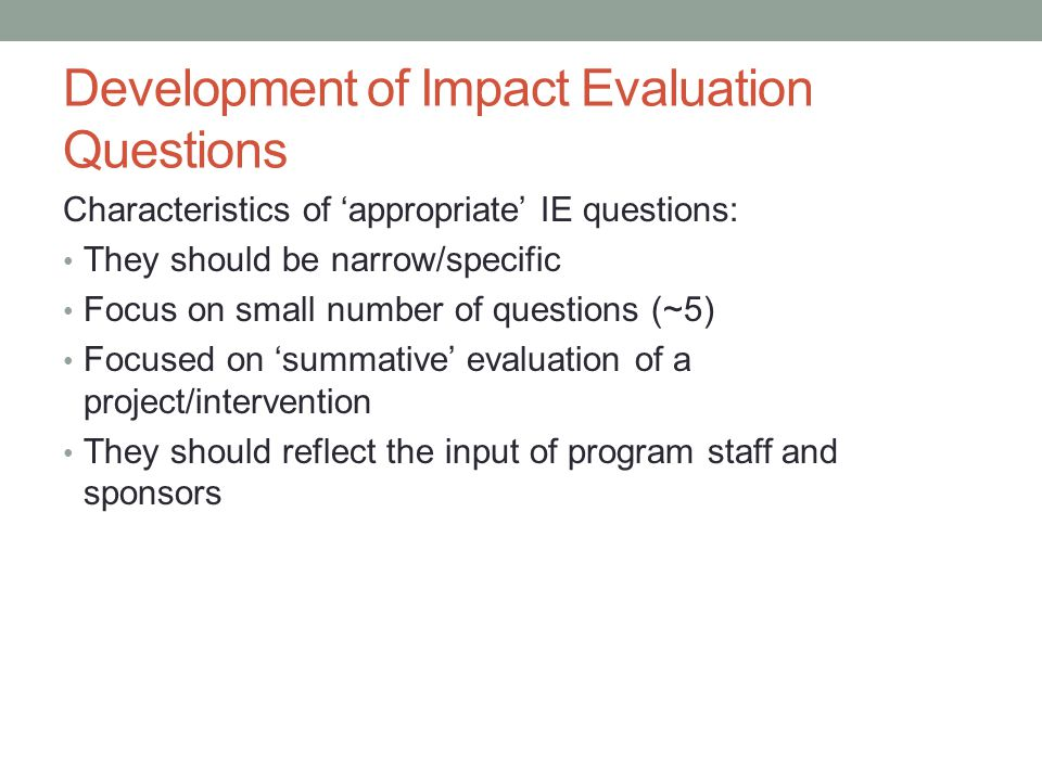 Development of Impact Evaluation Questions