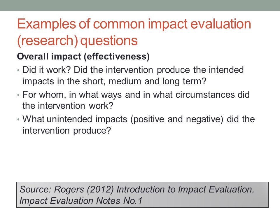Examples of common impact evaluation (research) questions