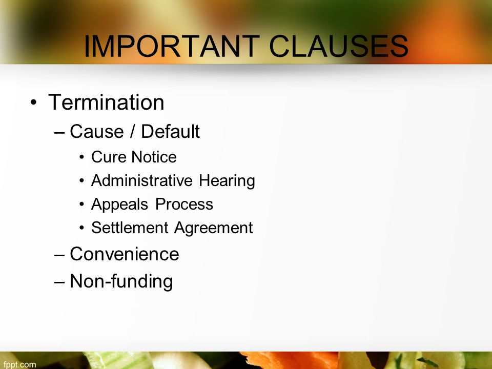 IMPORTANT CLAUSES Termination Cause / Default Convenience Non-funding