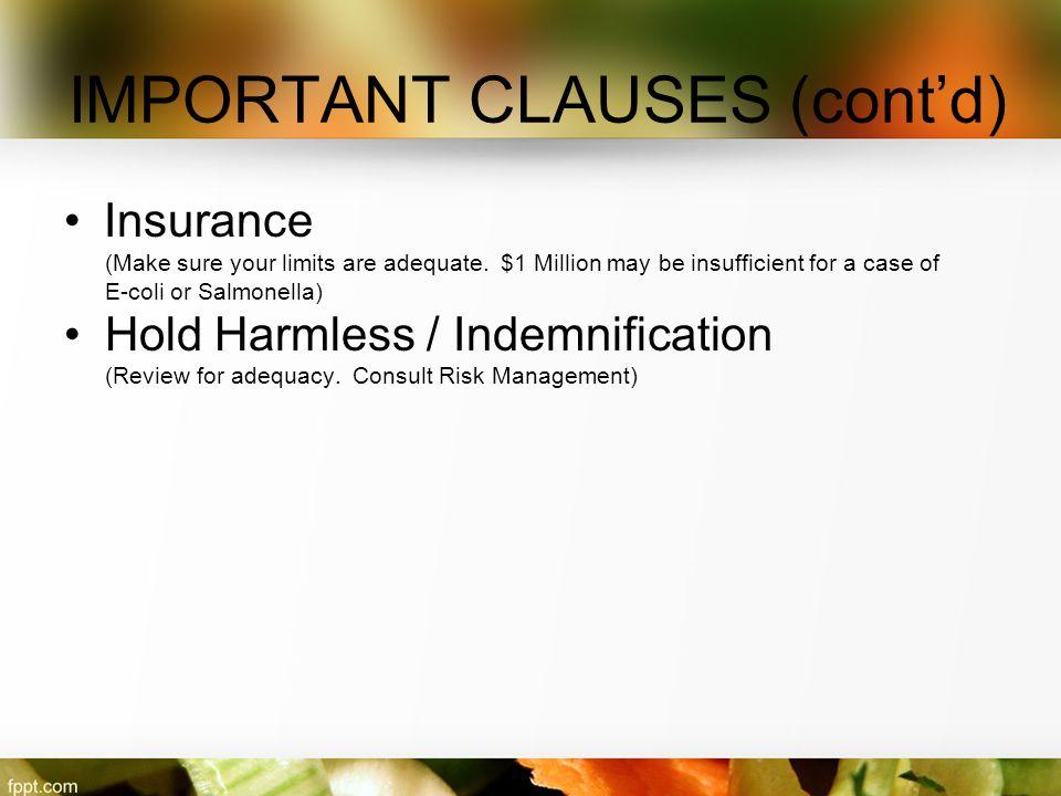 IMPORTANT CLAUSES (cont'd)