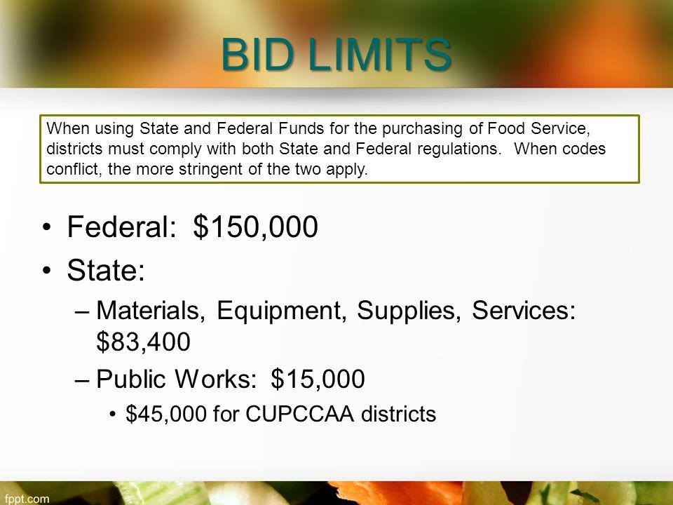 BID LIMITS Federal: $150,000 State: