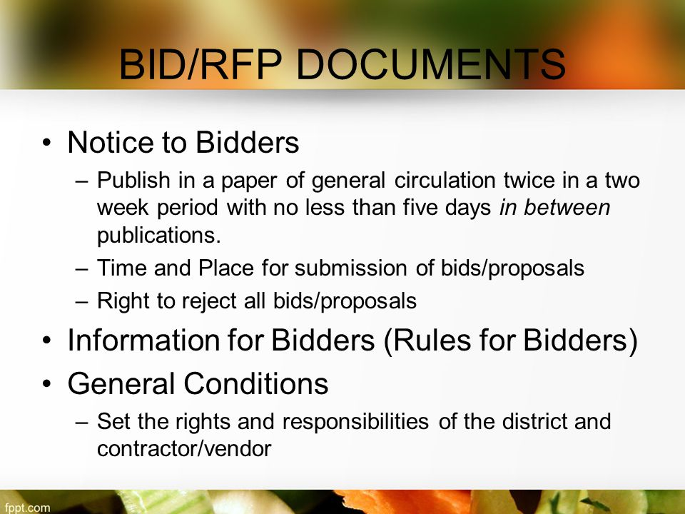 BID/RFP DOCUMENTS Notice to Bidders