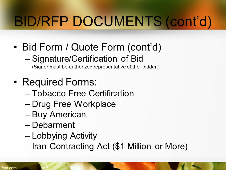BID/RFP DOCUMENTS (cont'd)