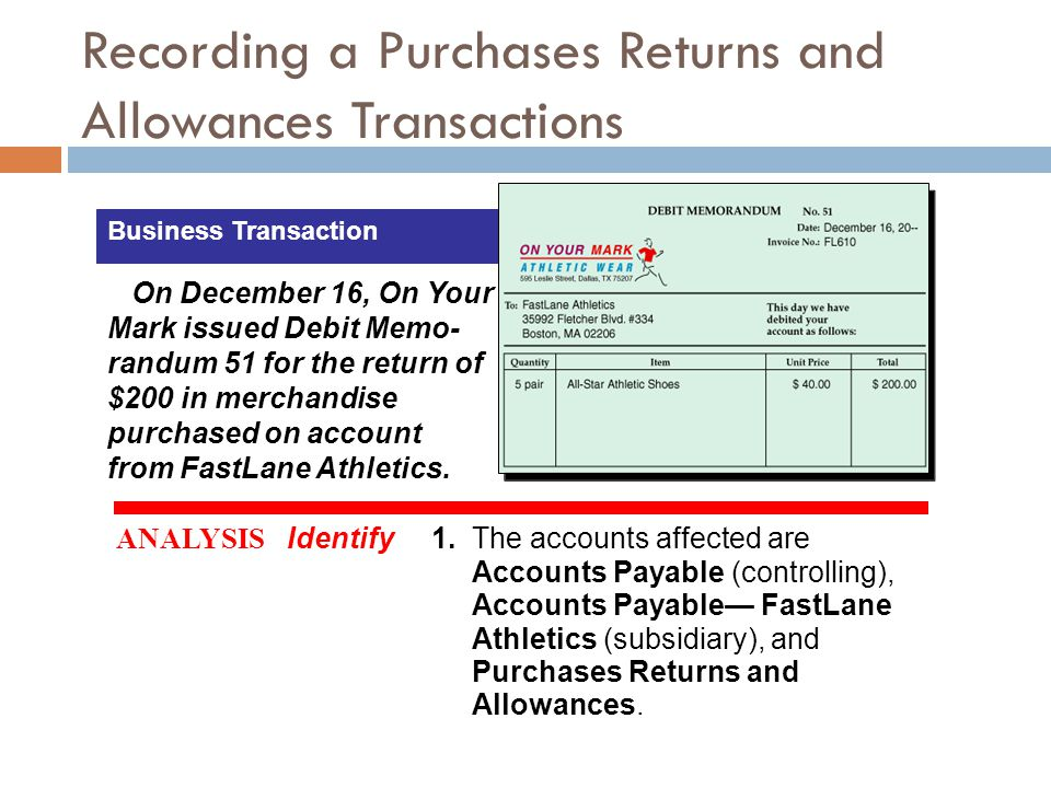 Recording a Purchases Returns and Allowances Transactions