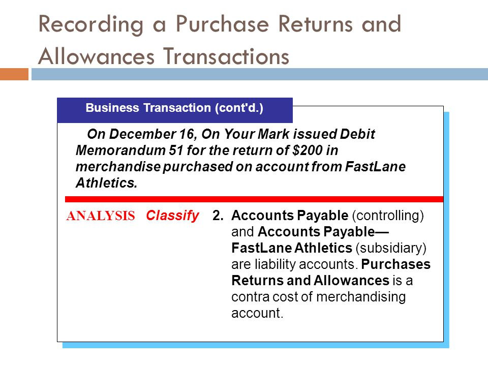 Recording a Purchase Returns and Allowances Transactions