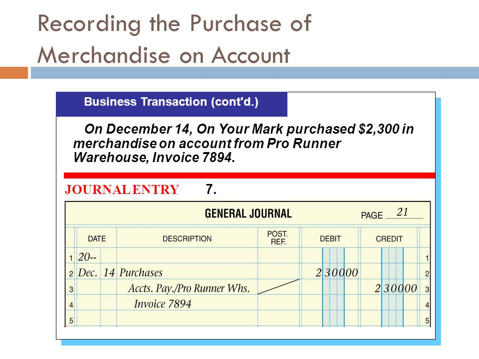 Recording the Purchase of Merchandise on Account
