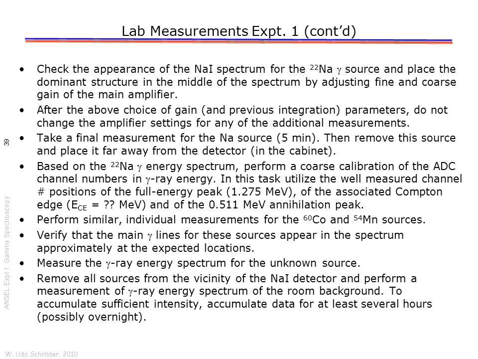Lab Measurements Expt. 1 (cont'd)