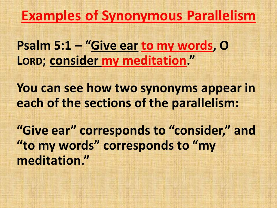 Examples of Synonymous Parallelism