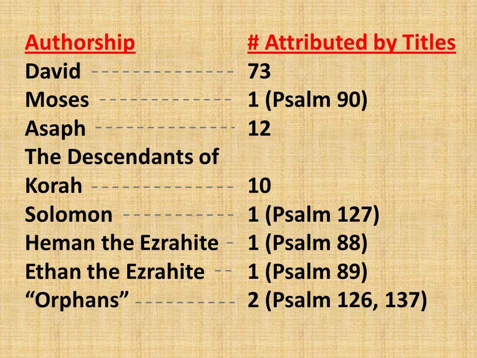 Authorship David. Moses. Asaph. The Descendants of Korah. Solomon. Heman the Ezrahite. Ethan the Ezrahite.