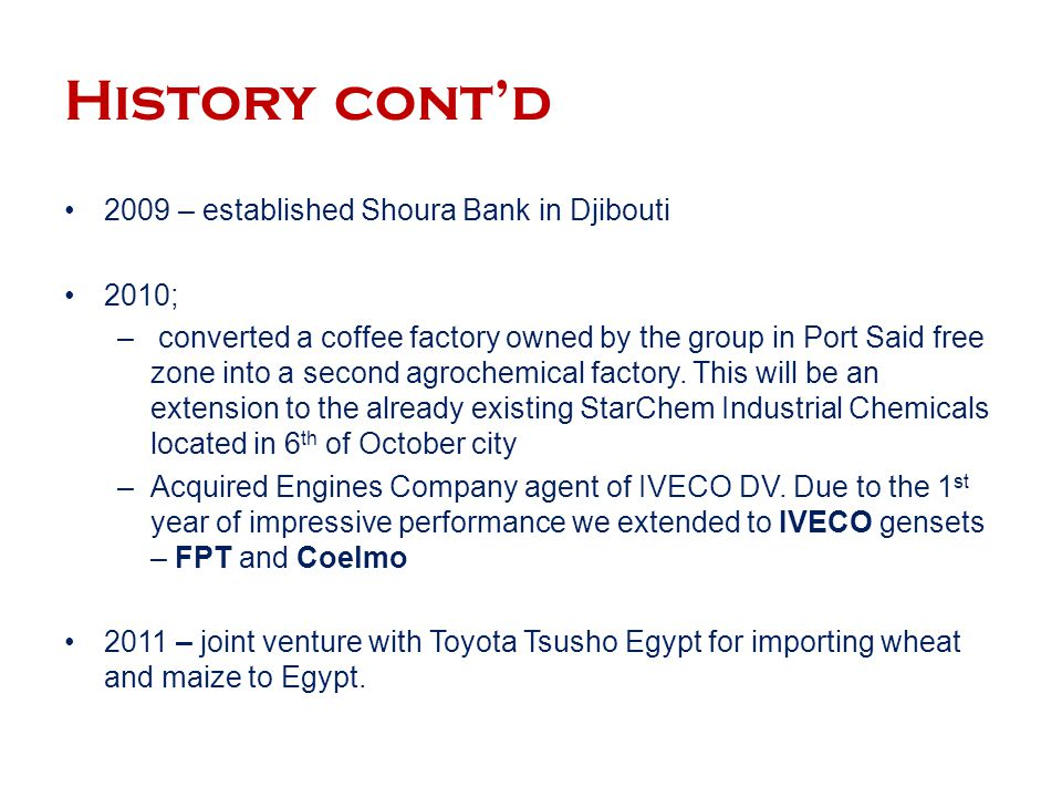 History cont'd 2009 – established Shoura Bank in Djibouti 2010;