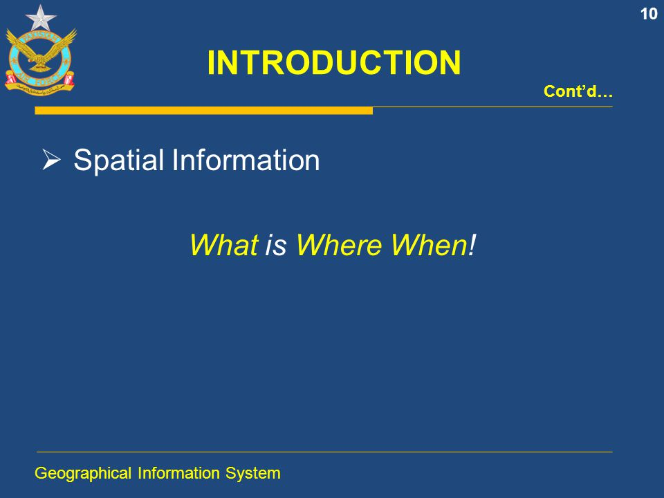 INTRODUCTION Spatial Information What is Where When! Cont'd…