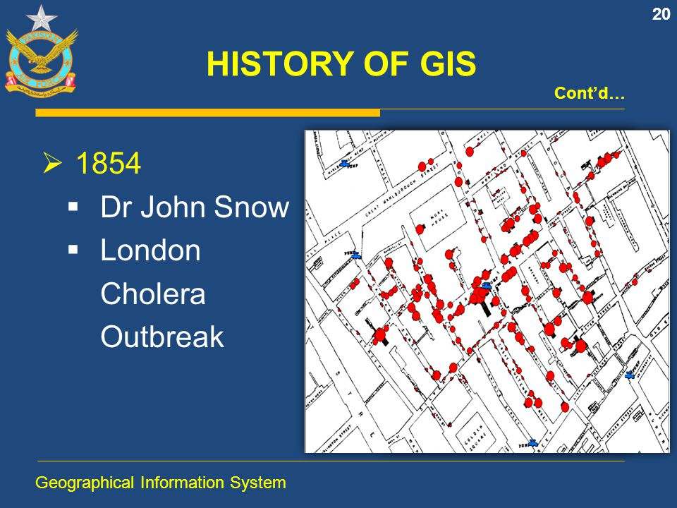 HISTORY OF GIS 1854 Dr John Snow London Cholera Outbreak Cont'd…