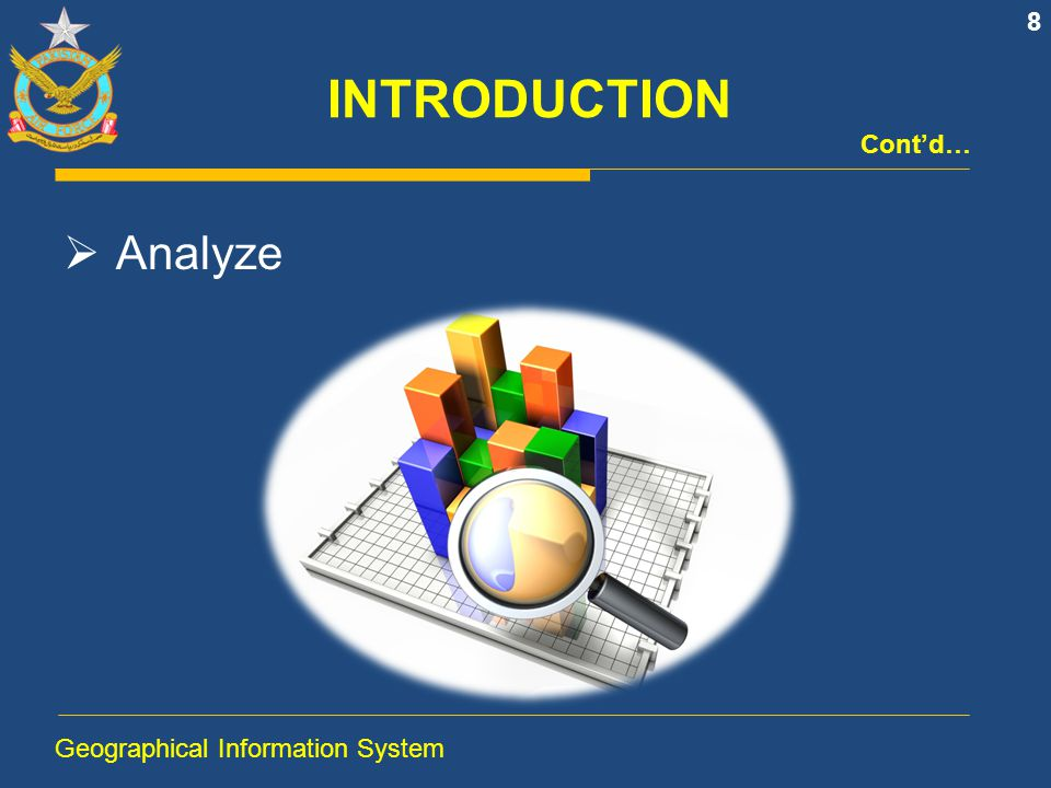 INTRODUCTION Cont'd… Analyze Geographical Information System