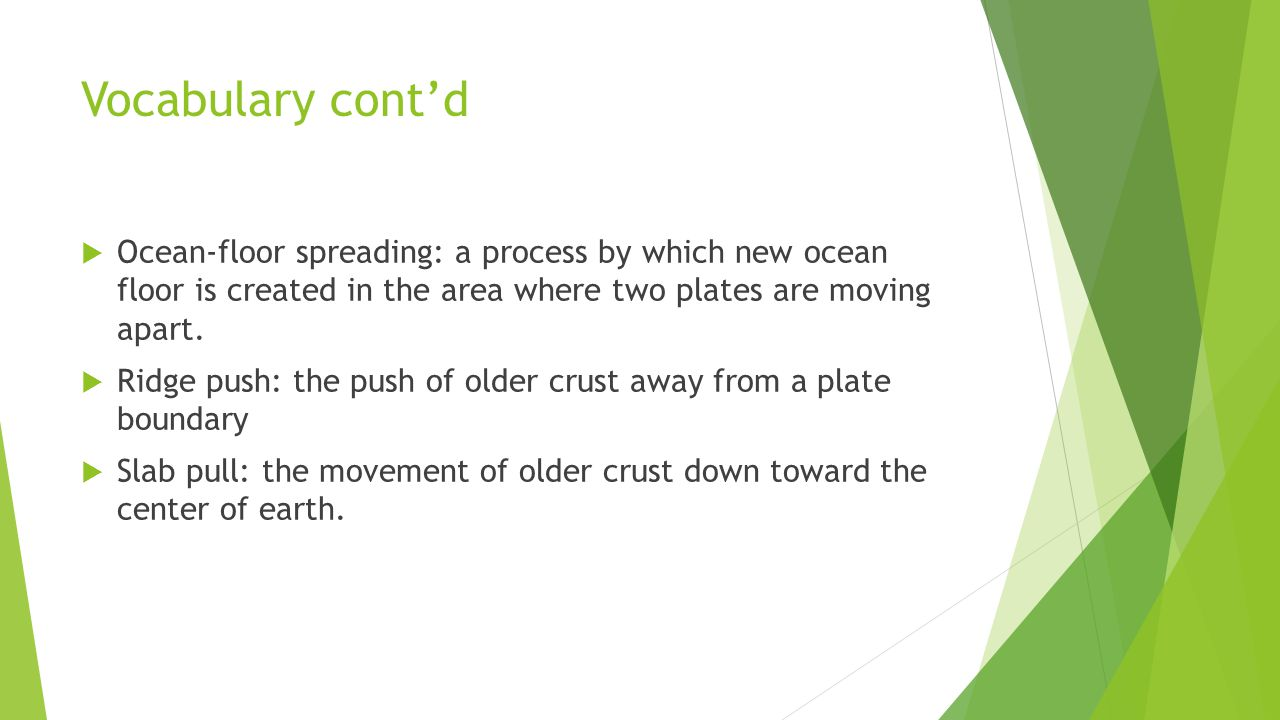 Vocabulary cont'd Ocean-floor spreading: a process by which new ocean floor is created in the area where two plates are moving apart.