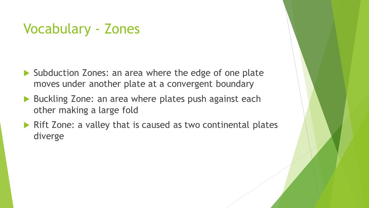 Vocabulary - Zones Subduction Zones: an area where the edge of one plate moves under another plate at a convergent boundary.