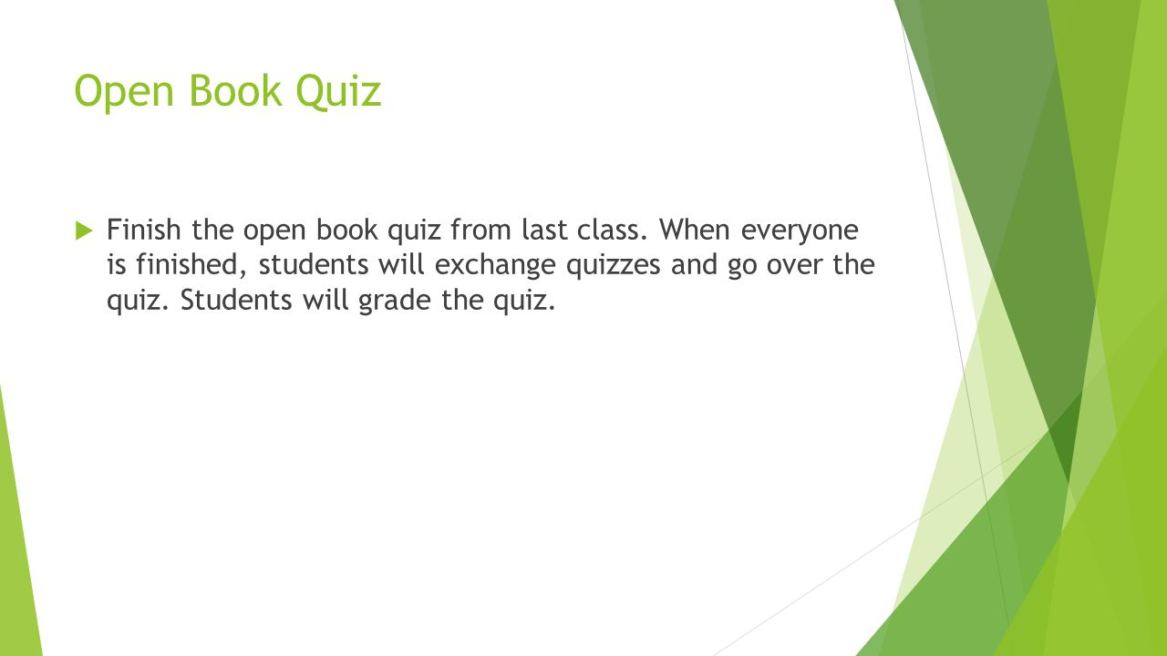 Open Book Quiz