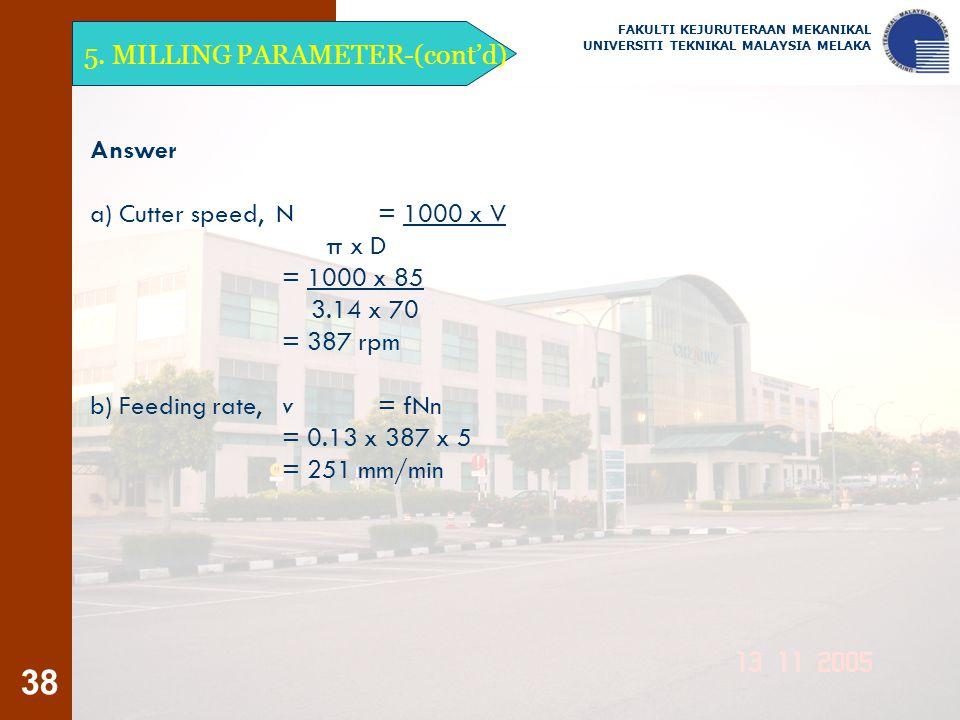 5. MILLING PARAMETER-(cont'd)