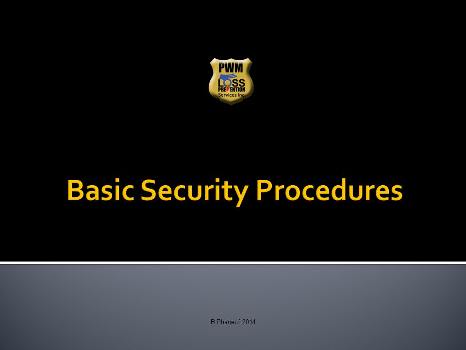 Basic Security Procedures