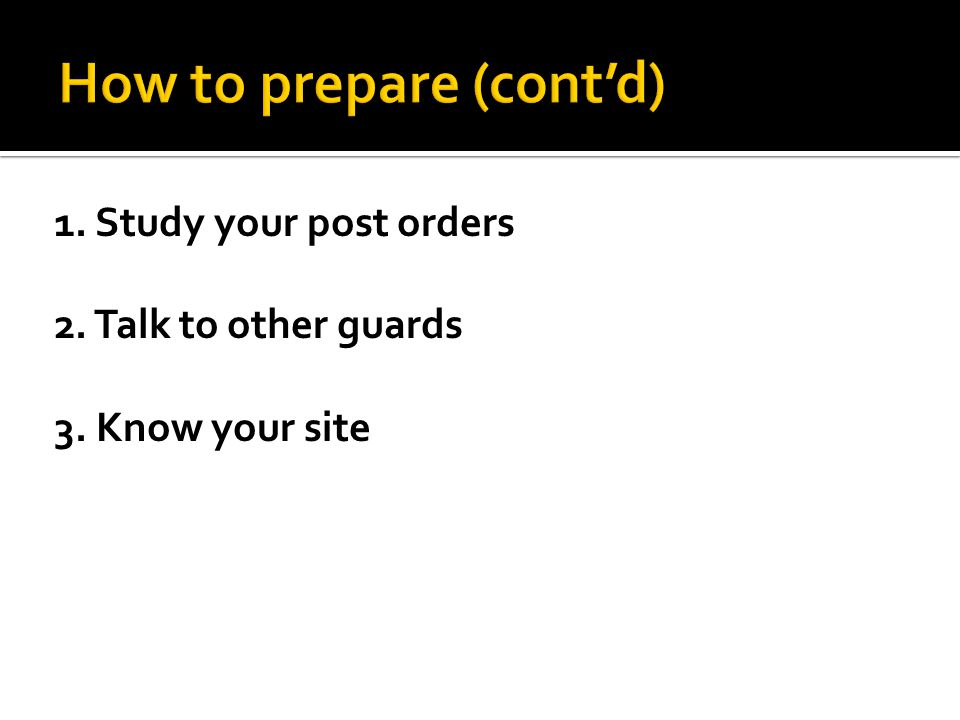 How to prepare (cont'd)