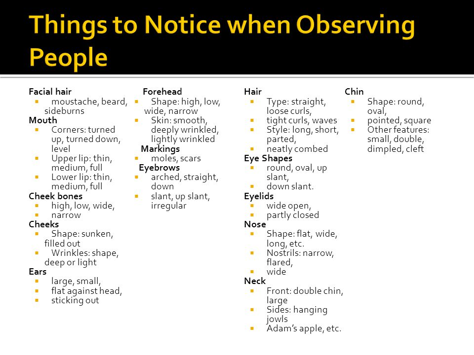 Things to Notice when Observing People