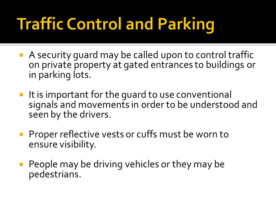 Traffic Control and Parking