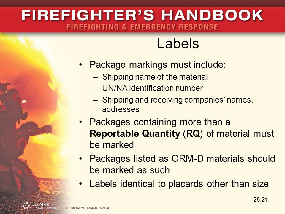 Labels Package markings must include: