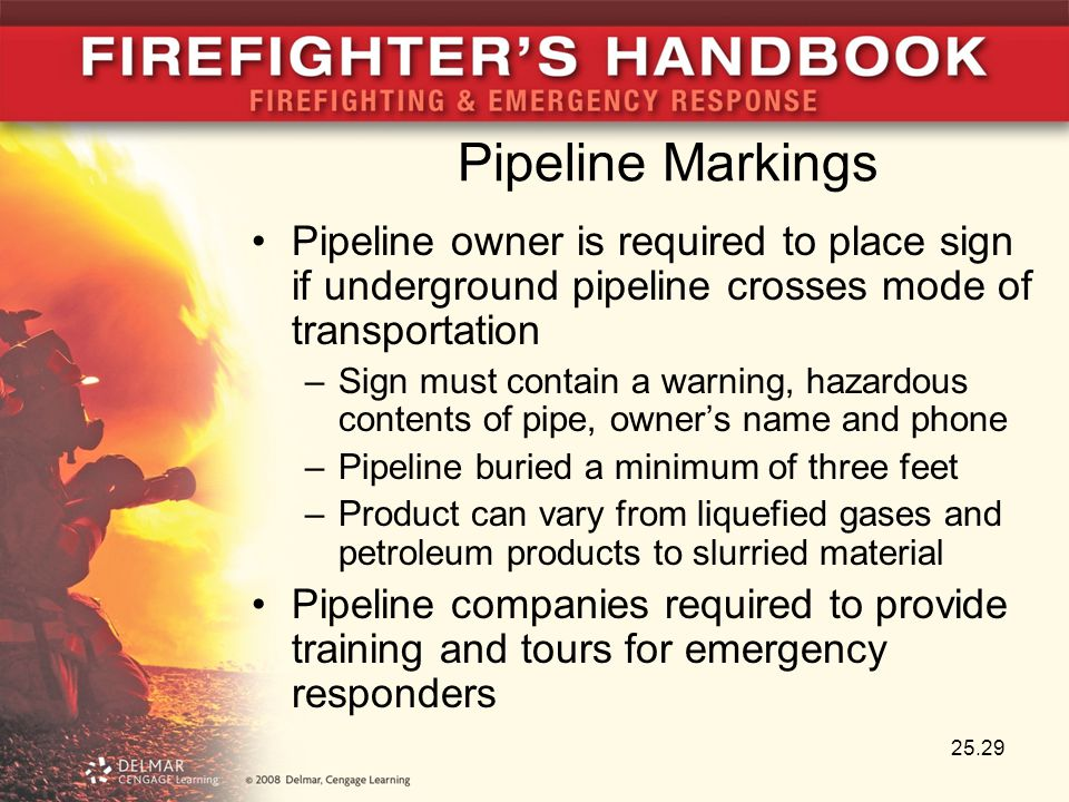 Pipeline Markings Pipeline owner is required to place sign if underground pipeline crosses mode of transportation.