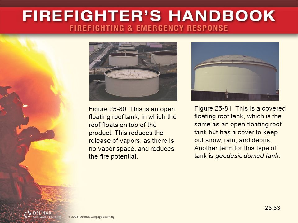 Figure 25-80 This is an open floating roof tank, in which the roof floats on top of the product. This reduces the release of vapors, as there is no vapor space, and reduces the fire potential.