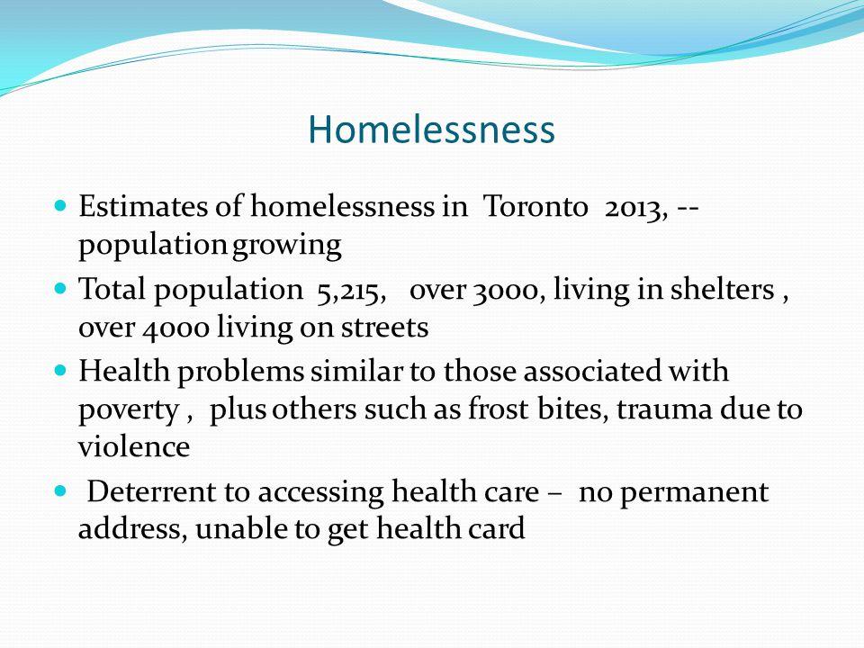 Homelessness Estimates of homelessness in Toronto 2013, --population growing.