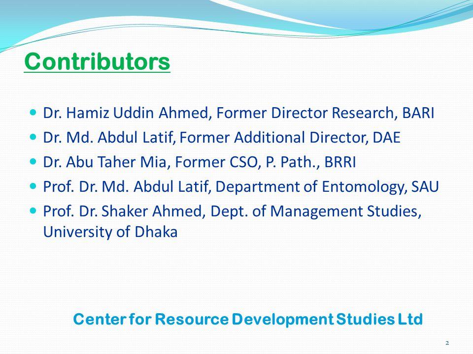 Center for Resource Development Studies Ltd