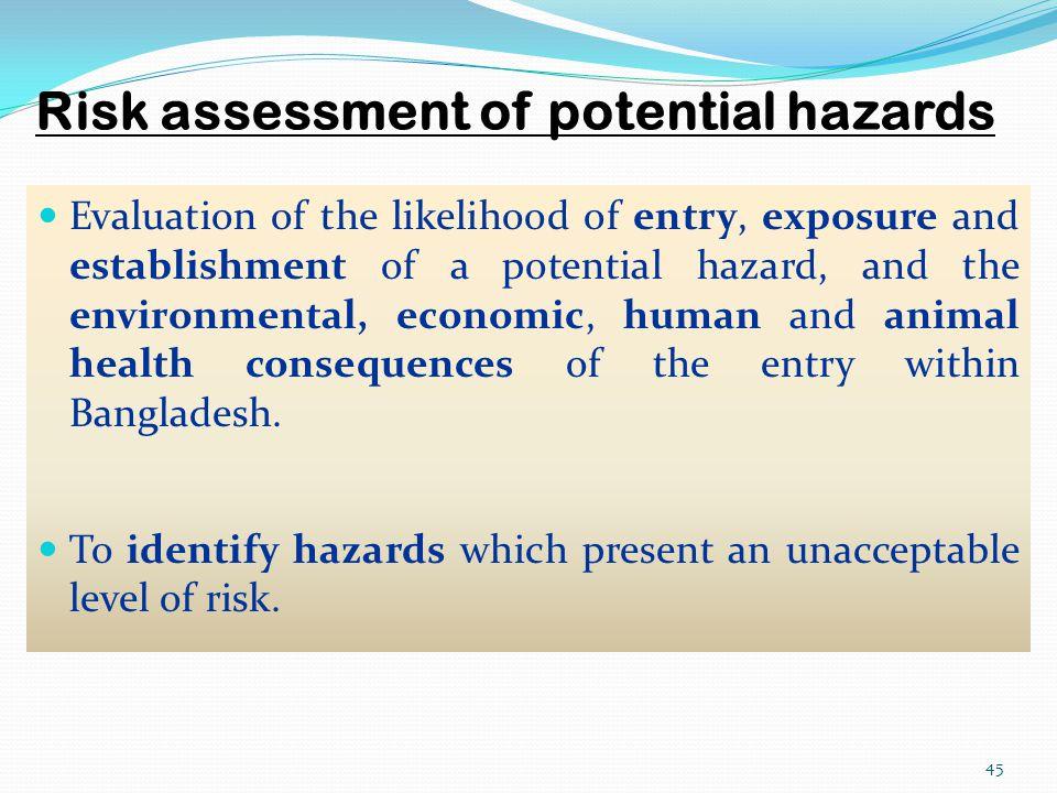 Risk assessment of potential hazards