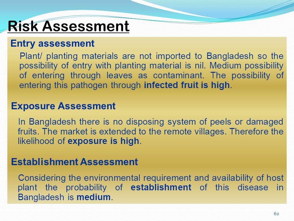 Risk Assessment Entry assessment Exposure Assessment