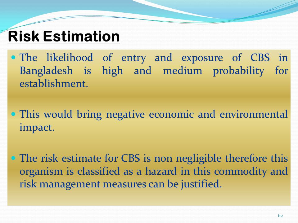 Risk Estimation The likelihood of entry and exposure of CBS in Bangladesh is high and medium probability for establishment.