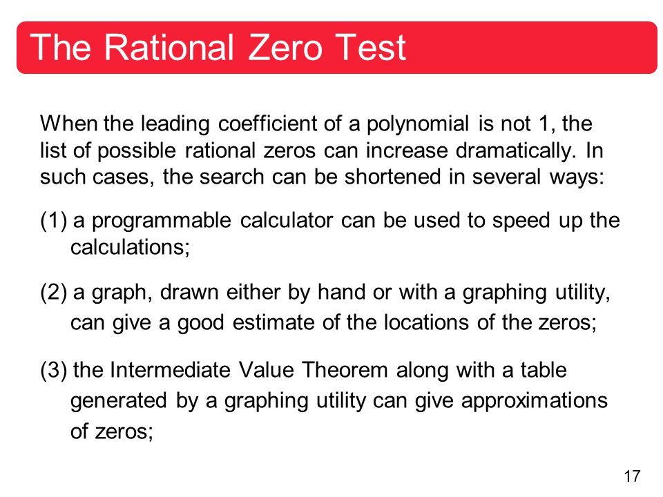 The Rational Zero Test