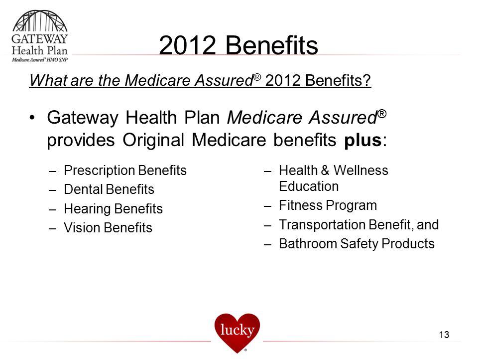 2012 Benefits What are the Medicare Assured® 2012 Benefits Gateway Health Plan Medicare Assured® provides Original Medicare benefits plus: