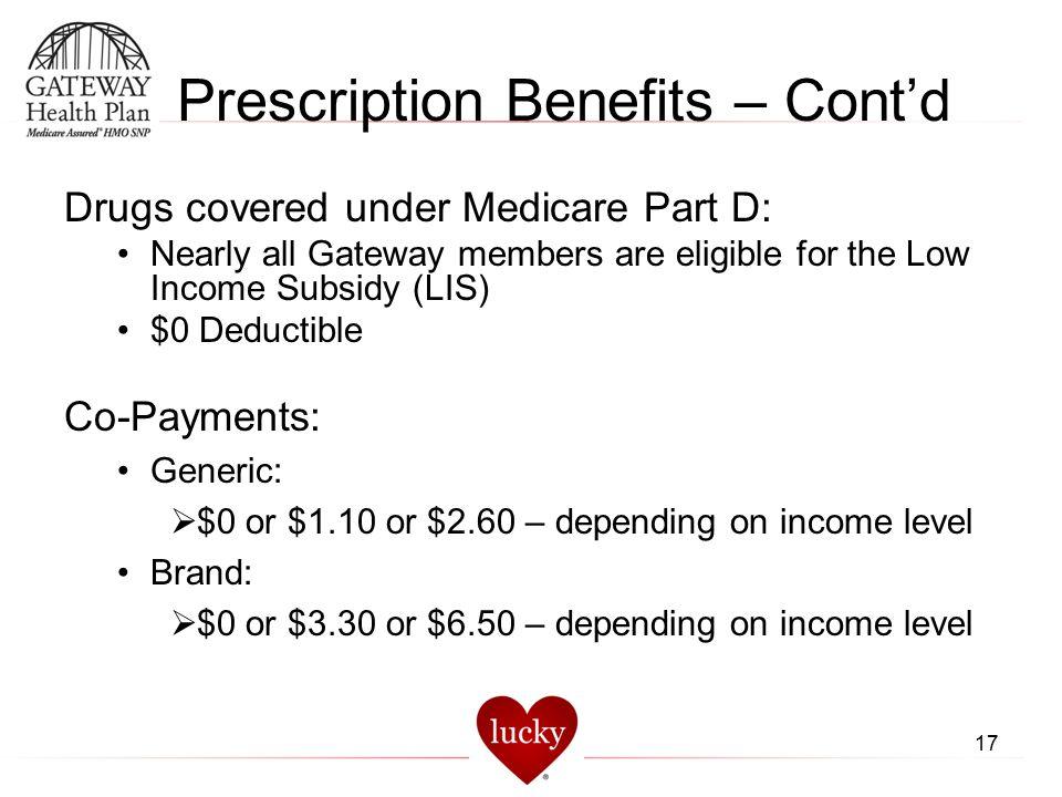 Prescription Benefits – Cont'd